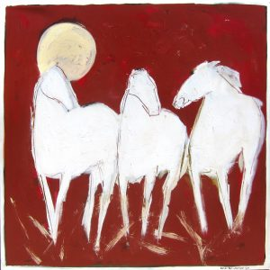 "Red and White by Karen Bezuidenhout 48"" x 48"""