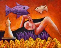 """Dolor Jose Echeverria 32.5"""" x 42.5"""" oil on canvas $2950"""