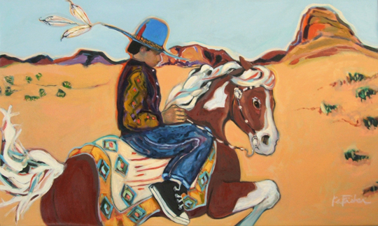 "Billy Blue Hat Rides  Ka Fisher 36"" x 60""   acrylic on canvas $3900"