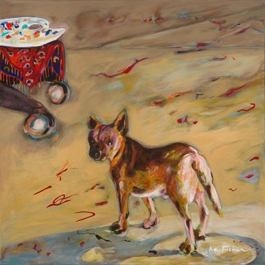 """Studio Dog  Ka Fisher 48"""" x 48""""   acrylic on canvas $4300"""
