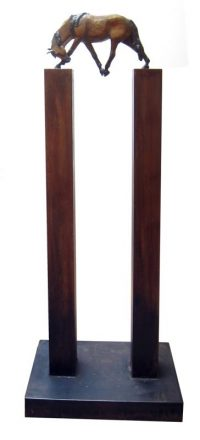 """Between II   Lisa M. Gordon 60"""" x 23"""" x 12.5"""" bronze, steel Edition of 12 $5600"""