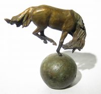 """Large Horse on a Ball   Lisa M. Gordon 9"""" x 8"""" x 4"""" bronze Edition of 30 $1200"""