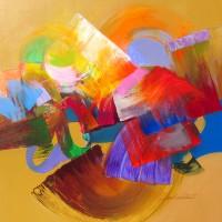 "Acoma Jack Roberts 50"" x 50"" acrylic on canvas $4500"