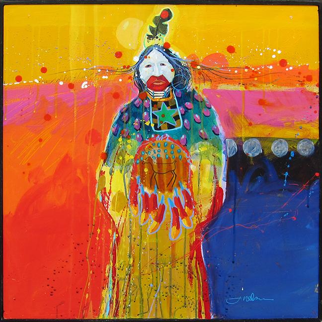 "Elk Medicine  Jim Nelson  24.5"" x 24.5"" acrylic on canvas $2600"
