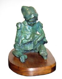"Girl with Duck Jacqueline Rochester 7"" x 8"" x 6"" bronze $1950"