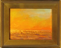 """Sunset Cows James Swanson 16"""" x 19"""" oil on panel"""