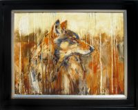 """Timber Wolf James Swanson 25.5"""" x 29.5"""" oil on panel $2500"""