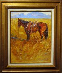 "Ground Tied James Swanson 28.25"" x 24.25"" oil on panel $1850"