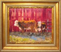 """Two Steers James Swanson 23.25"""" x 27.25"""" oil on panel $1200"""