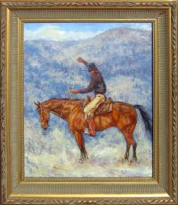 """Back in the Saddle James Swanson 30.75"""" x 26.75"""" oil on panel $2800"""