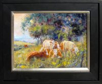 """Cow Down Time James Swanson 18"""" x 22"""" oil on panel $1000"""