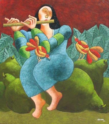 """Sereno Matinal Jose Echeverria  54.5"""" x 47"""" oil on canvas $4700"""