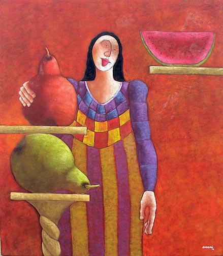 """Mujer Jose Echeverria  54.75"""" x 46.75""""  oil on canvas $4700"""