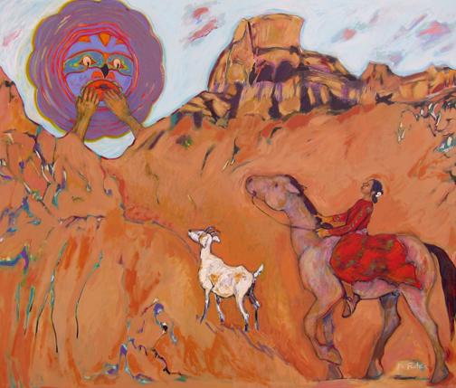 "Northern Moon Comes Calling  Ka Fisher 60 "" x 72""   acrylic on canvas $8500"