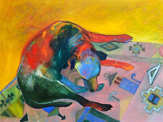 "Pele Grooming on Tribal Carpet Jill Gilbert 36"" x 48""  oil on canvas $2350"