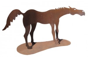 "Indian Pony  by Doug Weigel , 55"" x 108"", steel sculpture with patina, $3500"