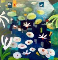 "Blue Spot Ana Marini-Genzon 48"" x 48"" acrylic on canvas $4700"