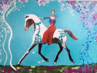 "Journey to the Spring Garden Ana Marini-Genzon 30"" x 40"" acrylic on canvas $1900"