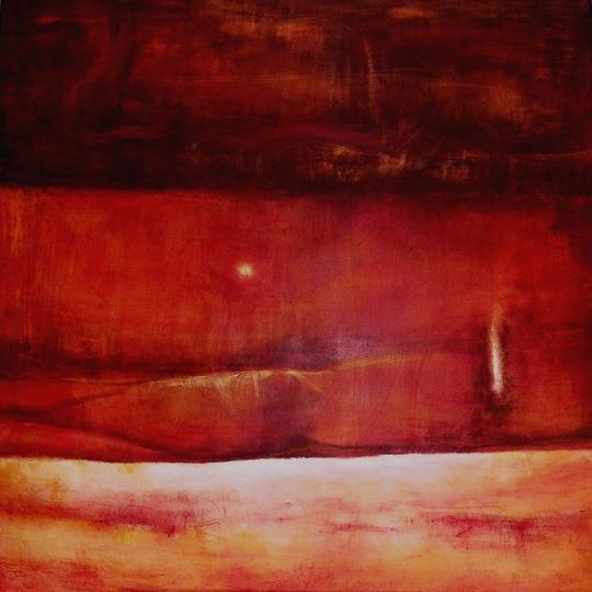 "Red Layers Ana Marini-Genzon 48"" x 48""   acrylic/wax/canvas $2900"