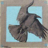 "Raven Lunatic  II Michael Swearngin 12"" x 12"" mixed media on canvas $395"