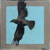 "Raven Lunatic  III Michael Swearngin 12"" x 12"" mixed media on canvas $395"