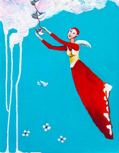 """Paper Boats  Ana Marini-Genzon 12 """" x 9""""   acrylic/wax/canvas $280"""