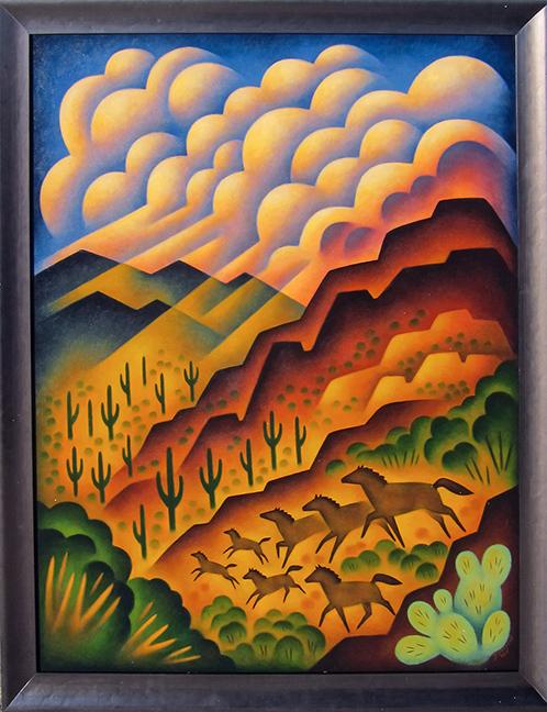 """Desert Herd Sushe Felix  49 """" x 41"""" acrylic on panel On Exhibition"""