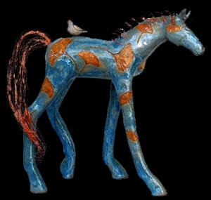 Blue Gingko Leaf Horse, Michelle MacKenzie