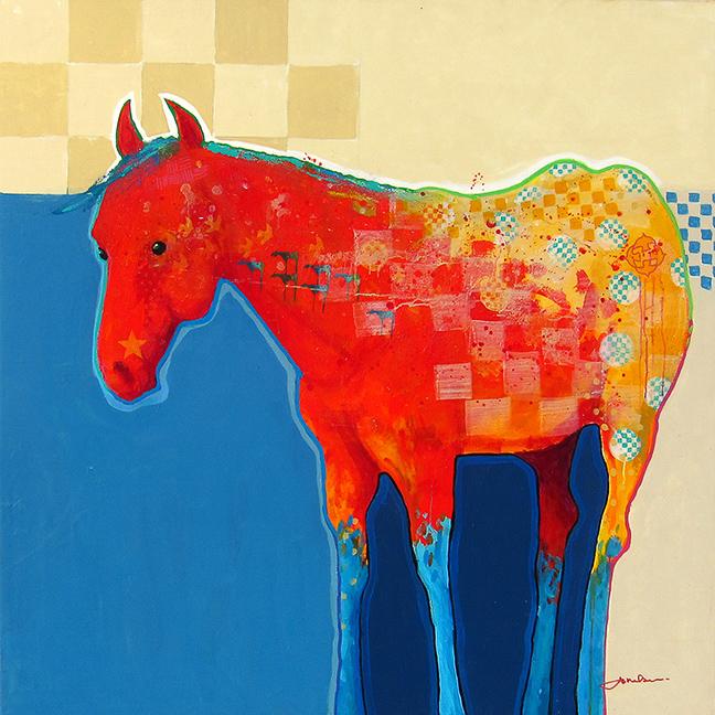 """Eagle Horse  Jim Nelson  60"""" x 60"""" acrylic on canvas $16,500"""