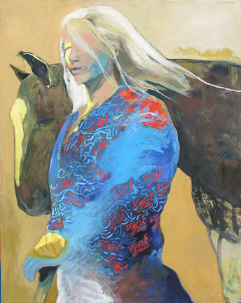 "Woman with Horse J Gilbert 60"" x 48""  oil on canvas $3350"