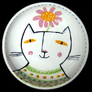 Cat with Pink Daisy Bowl