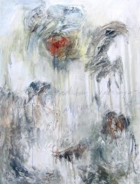 """Fortuitous Beginnings Tracey Waldroup  48"""" x 36"""" mixed media on canvas $2900"""
