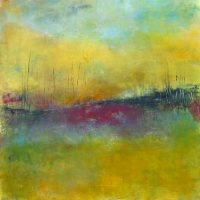 """Dawn Greets Me Lisa Mann 30"""" x 30"""" oil and cold wax on panel $1600"""