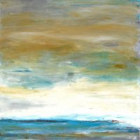 """Brittany Reimagined Lisa Mann 30"""" x 30"""" oil and cold wax on panel $1600"""