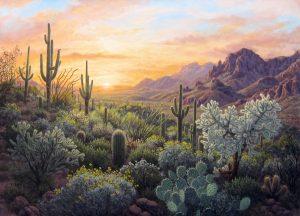 "Hilltop Sunset by Stephen Morath36"" x 50""acrylic on canvas"