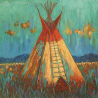 """Autumn Day Theresa Paden 40"""" x 40"""" oil on canvas $3200"""