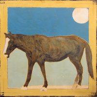 "Roaming Navajo Horse Michael Swearngin 36"" x 36"" mixed media on canvas $2950"
