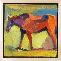 "Big Red Dana Hooper 7"" x 7"" oil on canvas $550"