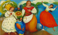 "Four Doves N'Sun Linda Carter Holman 32"" x 52"" oil on canvas $10,500"