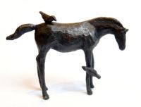 "Katarina & Birds Renee Martig 3.25"" x 5"" x 1.25"" bronze sculpture"