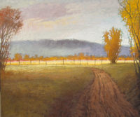 "Fence Line and Sunlight Jeff Cochran 60"" x 72"" oil on canvas $9600"