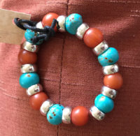 Bracelet Joan Robinson Dyed Bone, Coral Amber and Pewter