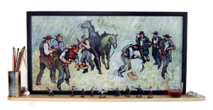 "At the OK Corral; After Eggenhoffer by Thom Ross 20"" x 38"""