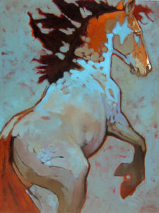 "Blu Hors, by Peggy Judy 40"" x 30"" acrylic on canvas"