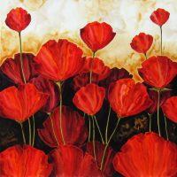 "Field of Poppies Robert Charon 36"" x 36"" mixed media on panel $2600"