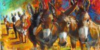"Natives Bill Colt  24"" x 48"" mixed media on canvas $1800"