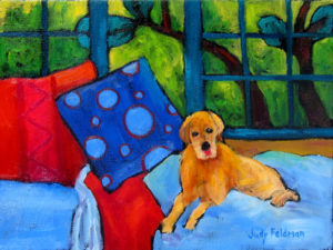 """Beds are the Best by Judy Feldman, 9"""" x 12"""", oil on canvas"""