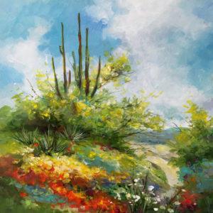 """Beauty In Bloom by Alix Stefan, 12' x 12"""", acrylic on canvas"""