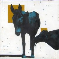 """My Father's Mule Michael Swearngin 36"""" x 36"""" mixed media on canvas $2950"""