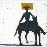 "Blue Roan Rider Michael Swearngin 40"" x 40"" mixed media on canvas $3600"